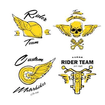 Thème de motard moto, jeu d'icônes. café racer. d'or