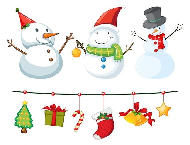 Thème de noël avec bonhomme de neige et ornements