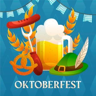 Thème oktoberfest dessiné à la main