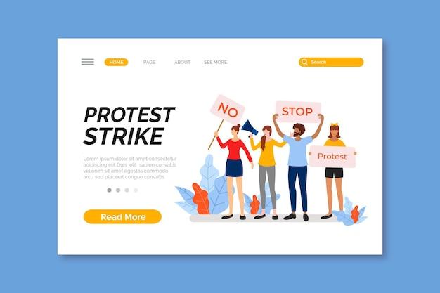 Thème de la page de destination de la grève de protestation