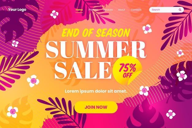 Thème de la page de destination des soldes d'été de fin de saison