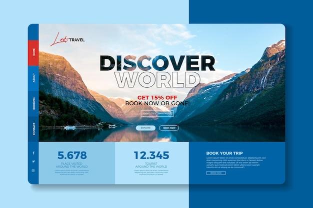 Thème de la page de destination de la vente de voyages