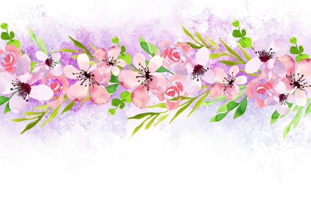 Thème de papier peint floral aquarelle
