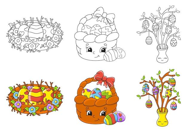 Thème de pâques. définir la page de coloriage pour les enfants.