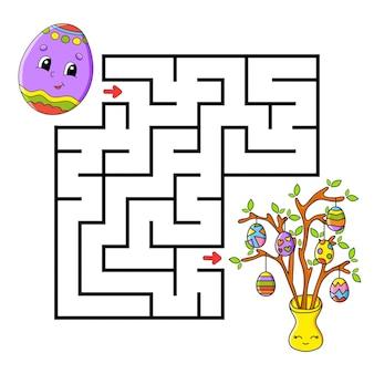 Thème de pâques. labyrinthe carré.