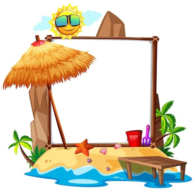 Thème de plage d'été avec bannière vierge isolé sur fond blanc
