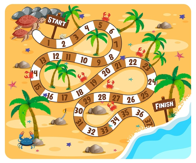 Thème de plage de jeu de plateau de chemin