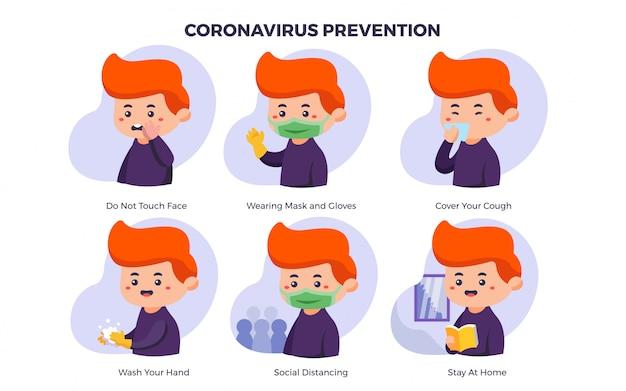 Thème de prévention infographique de coronavirus illustration mignonne