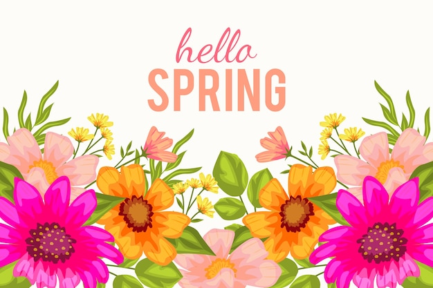 Thème de printemps design plat pour le fond