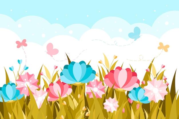 Thème printemps design plat pour papier peint