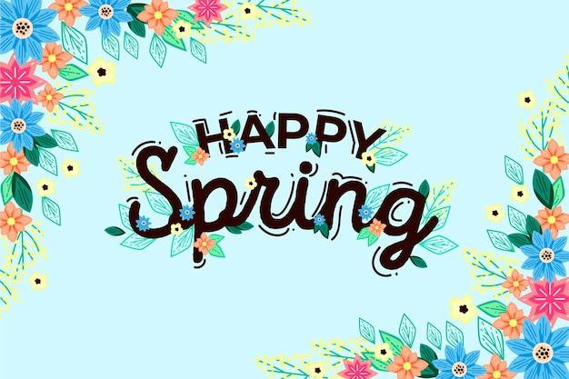 Thème de printemps dessiné à la main pour le papier peint