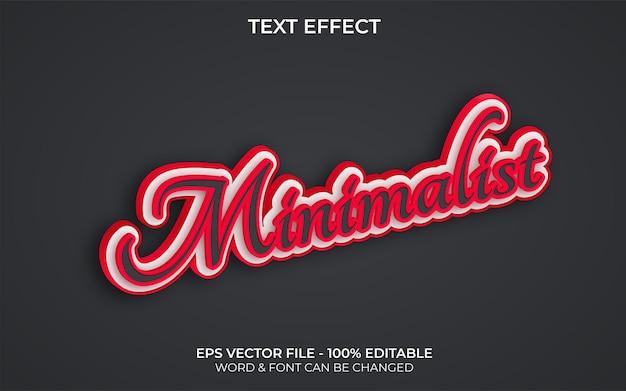Thème rouge de style effet de texte minimaliste 3d effet de texte modifiable
