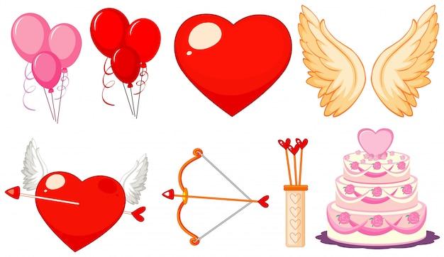 Thème de la saint-valentin avec des ballons et des gâteaux