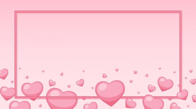 Thème de la saint-valentin avec des coeurs roses autour du cadre