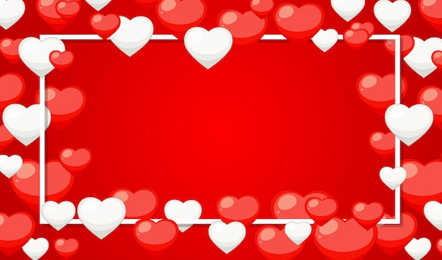Thème de la saint-valentin avec des coeurs rouges et blancs