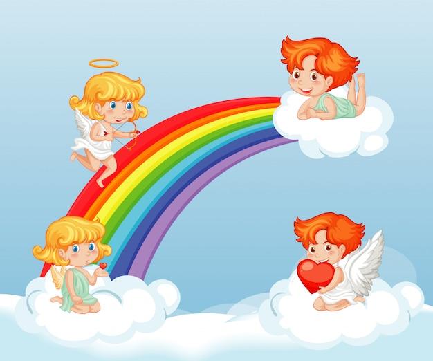 Thème de la saint-valentin avec des cupidons mignons dans le ciel