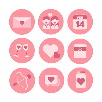 Thème de la saint-valentin, jeu d'icônes monochromes. illustrateur de vecteur