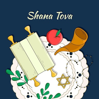 Thème de shana tova dessiné à la main