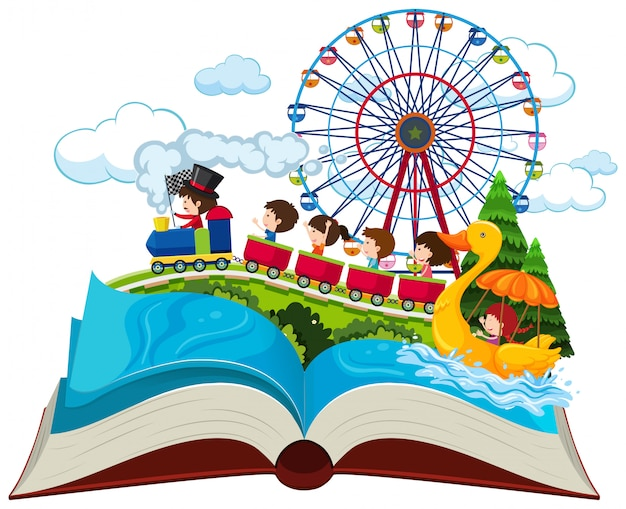 Thème de vacances de livre ouvert