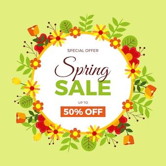 Thème de vente de printemps design plat