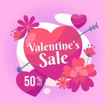 Thème de vente saint valentin dessiné à la main