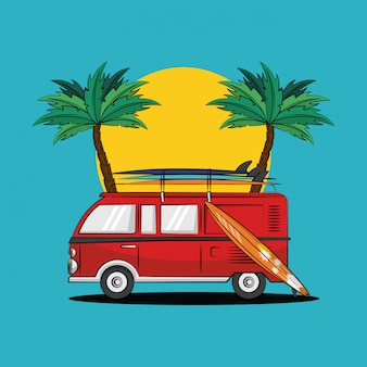 Thème de vie de surf tropical