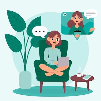 Thérapeute en ligne ayant une conversation avec un client