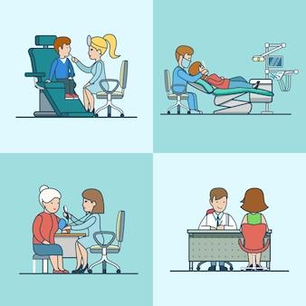 Thérapeute plat linéaire, orl, neurologie, cabinets de dentiste avec équipement médical, jeu de caractères médecin et patient. soins de santé, concept d'aide professionnelle.