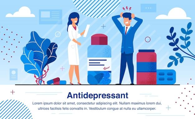 Thérapie avec des antidépresseurs bannière vecteur plat