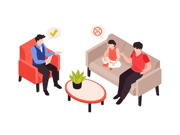 Thérapie de psychologie avec illustration isométrique parent et enfant