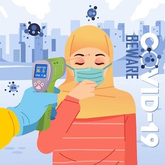 Thermo gun vérifie la température corporelle des femmes hijab qui portent un masque et une illustration du vétor