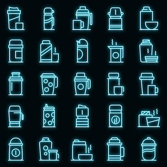 Thermo tasse icons set vector néon
