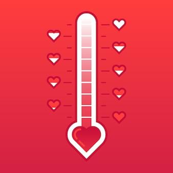 Thermomètre d'amour. carte de saint valentin avec compteur de température cardiaque chaud ou gelé. mètre de niveau d'amour