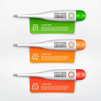 Thermomètre électronique médical infographique
