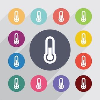 Thermomètre, jeu d'icônes plat. boutons colorés ronds. vecteur
