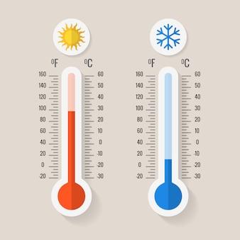 Thermomètres de météorologie celsius et fahrenheit