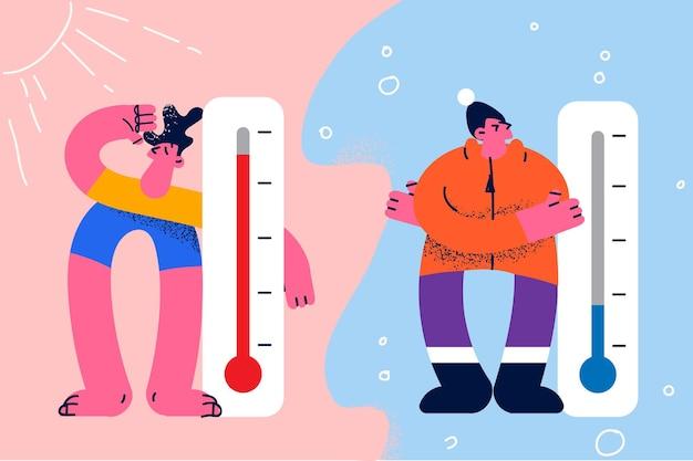 Thermomètres de météorologie et concept de mesure de la température