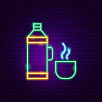 Thermos enseigne néon. illustration vectorielle de la promotion des boissons.