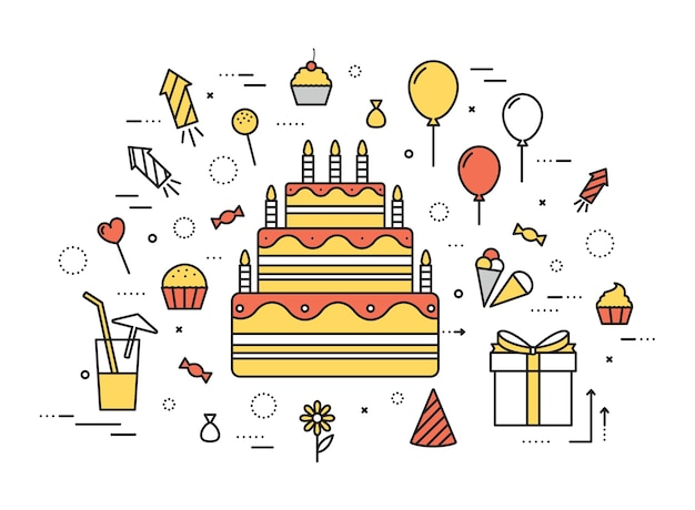 Thin line happy birthday party concept d'illustration moderne