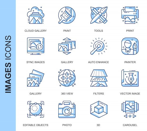 Thin line images ensemble d'icônes connexes