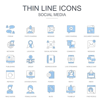 Thin line marketing internet et icônes de réseaux sociaux
