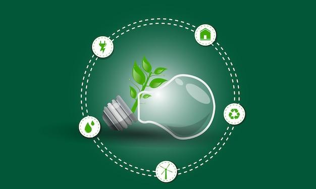 Think green eco energy icônes plates changement climatique conception renouvelable
