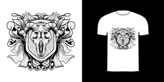 Thirt design illustration crâne de chèvre