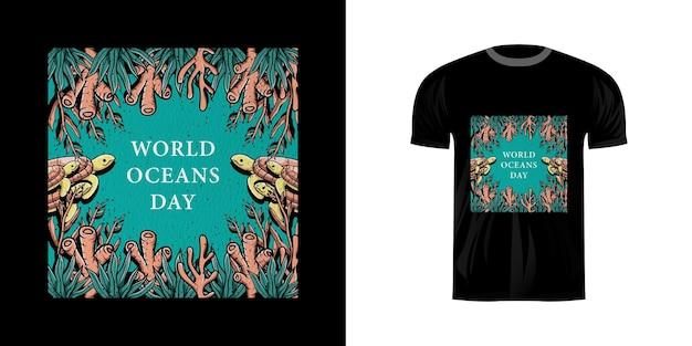 Thirt design illustration journée mondiale de l'océan