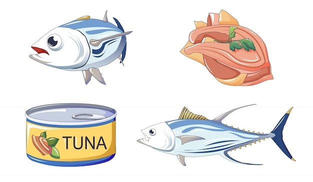 Thon fish icons set, style de bande dessinée