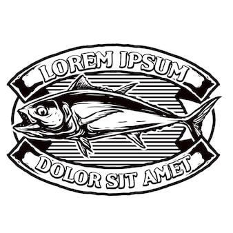 Thon pour badge logo club de pêche