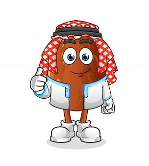 Thumbs up arabian date fruit personnage de dessin animé