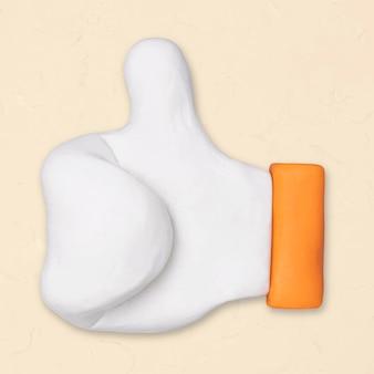 Thumbs up argile icône vecteur mignon marketing artisanal créatif graphique à la main