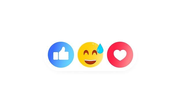 Thumbs up et étiquette de coeur avec sourire de dessin animé