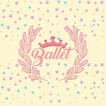 Tiara mignon décoration de laurier et étoiles fond ballet